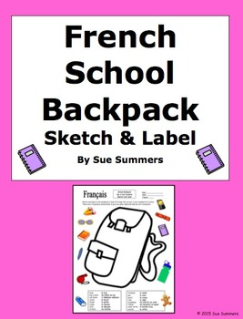 French School Backpack Sketch and Label Activity / Class Objects