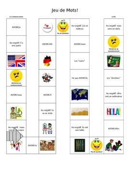 French School Classes Vocabulary Board Game