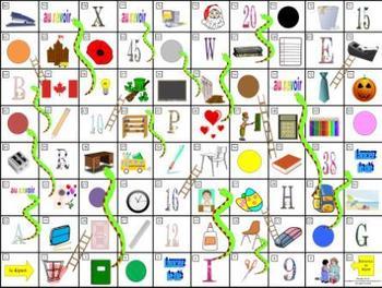 French School-L'École Serpents et Échelles Game Board