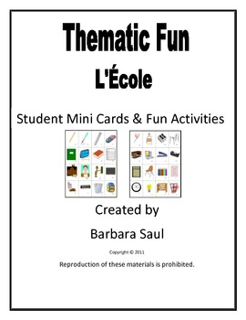 French School-L'École Vocabulary Mini Student Cards and Fun Activities