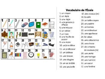 French School-L'École Vocabulary Teaching Posters Powerpoint