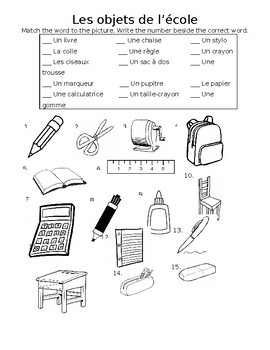 French School Objects Matching Worksheet