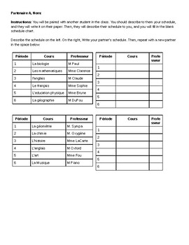 French School Schedule Info Gap Speaking Activity for Partners