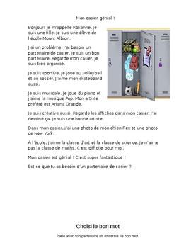 French School Story + Reading Comprehension (Choisis le bon mot)