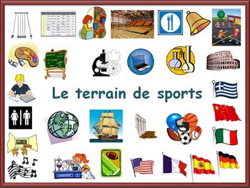 French School Subject and Places in School Vocabulary Powerpoint
