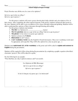French School Subjects Project Prompt