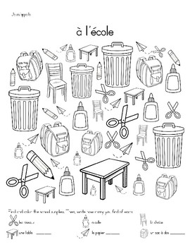French School Supplies/Classroom Objects Activities - rentrée scolaire,à l'ecole
