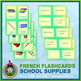 French School Supplies Flash Cards • 3 styles included • A