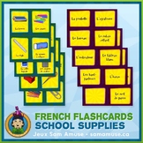 French School Supplies Flash Cards • 3 styles included • C