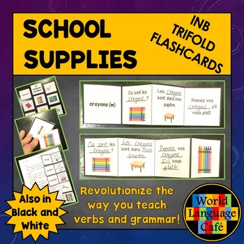 French School Supplies Flashcards, Interactive Notebook Trifold Flashcards