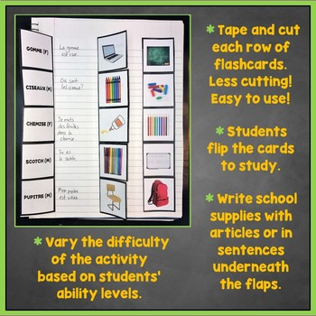 French School Supplies, Items Interactive Notebook Flashcards, À l'École