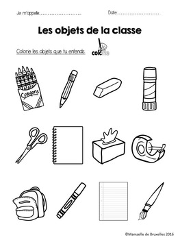 French School Supplies Listening Comprehension Worksheet