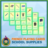 French School Supplies Playing Cards • Card Game • Abstract Theme