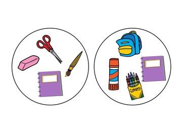 School Supplies Spot-it Game / Jeu Spot-it des objets de la classe