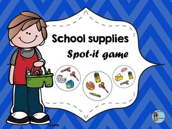 School Supplies Spot-it Game / Jeu Spot-it des objets de l
