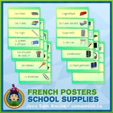French School Supplies Word Wall • Horizontal 1/4 Page Pos