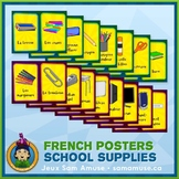 French School Supplies Word Wall • Vertical 1/2 Page Poste