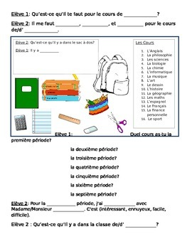 French School Supplies and Classes Convo Prompts