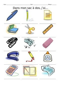 French School Supply Vocabulary Notes