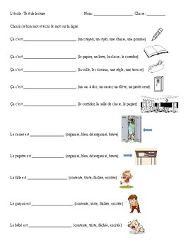 French School Unit Reading Assessment