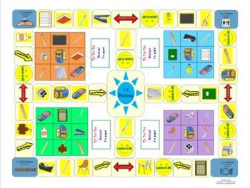 French School Vocabulary-L'École Tic Tac Toe Bureau Game Board