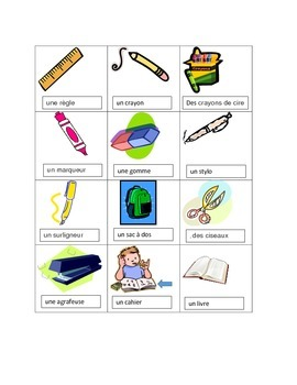 French School classroom Vocabulary worksheets and poster (objets de la classe)