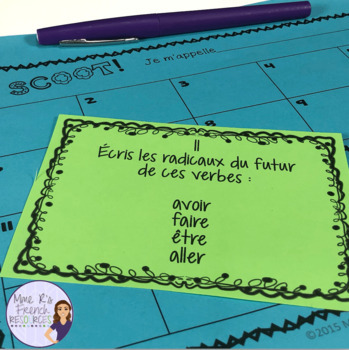 French future tense Scoot game and task cards / le futur simple