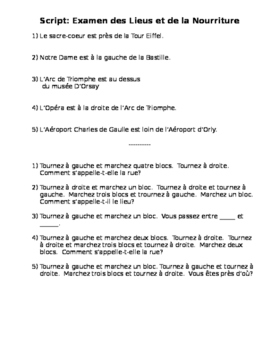 French Script for Places Around Town Quiz
