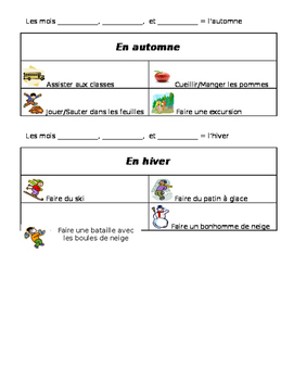 French Seasonal Activities Guided Notes