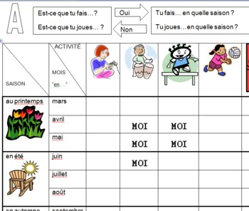 French Seasonal Pastimes Communicative Activity