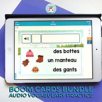 French Seasonal Theme Words Audio Digital Task Cards   French BOOM Cards