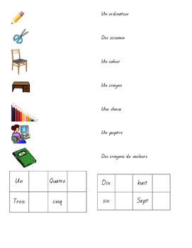 French Second Language - Unit on school vocab and number 1-10