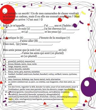 French-Secret B-Day Friend? Writable PDF