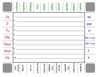 french regular verbs er ir re sentence formation practice activity. Black Bedroom Furniture Sets. Home Design Ideas