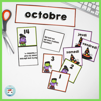 French October Calendar Cards | OCTOBRE