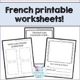 French September printables/Supply teacher worksheets