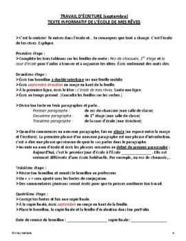 French - September Writing Activity (My Dream School)