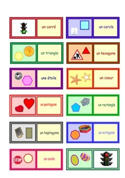 French Shapes  Loop Cards   . Small size cards  .One  A4 page .