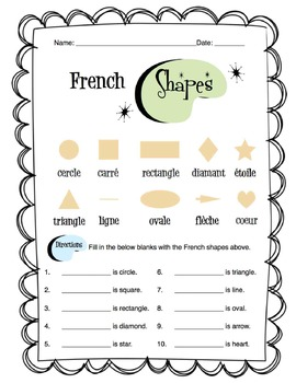 French Shapes Worksheet Packet