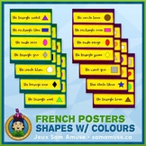 French Shapes with Colours Word Wall • Horizontal 1/4 Page