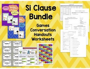 French Si Clause Bundle: Games/Worksheets: conditionnel, futur, plus-que-parfait