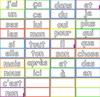 French Sight Word Cards