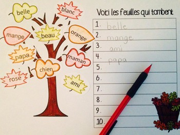 French Sight Word Pack - Fall leaf theme editable words
