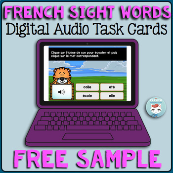 French Sight Words Audio Digital Task Cards | Mots fréquents | BOOM Cards