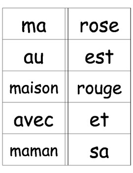 French Sight Words Cue Cards