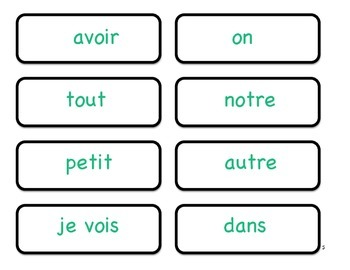 French Sight Words Match Game - Set 2 and 3