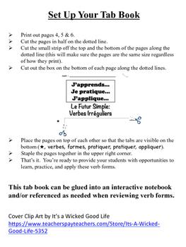 French Simple Future (Irregular Verbs) Tab Book