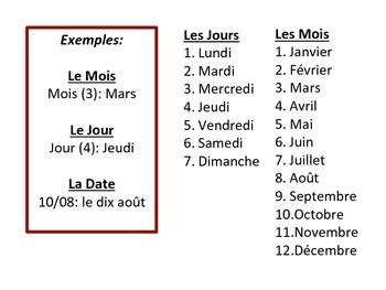 French Days, Months & Date Speaking Activity for Small Groups (Quick Prep)
