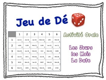 French Days, Months & Date Speaking Activity for Small Gro