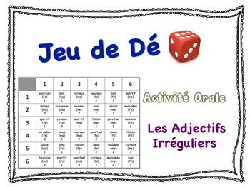 French Irregular Adjectives Speaking Activity for Small Groups